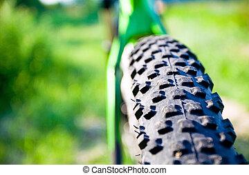 roue, vélo tout terrain, détail