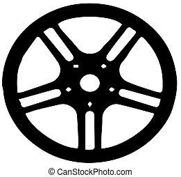 roue, vecteur, direction