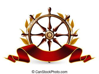 roue, vecteur, emblème