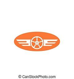 roue, vecteur, icône, ailes, conception, illustration