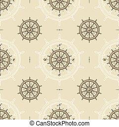 roue, vendange, bateau, seamless, modèle