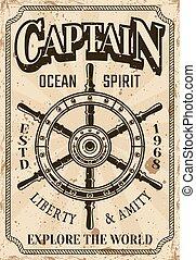 roue, vendange, direction, affiche, nautique