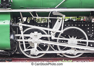 roue, vendange, train, vieux
