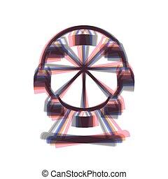 roue, vertical, coloré, ferris, isolated., signe., arrière-plan., shaked, vector., blanc, icône, axe