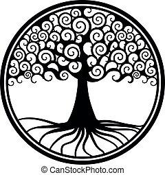 roue, vie, or, arbre, pendentif, médaillon, mondiale