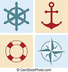 roue, vie, rose, maritime, symbols:, bouée, ancre, direction, vent