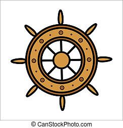 roue, vieux, bateau, vecteur, -