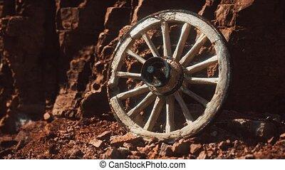 roue, vieux, charrette, bois, rochers, pierre