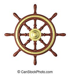 roue, vieux, direction, bateau