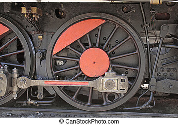 roue, vieux, locomotive