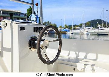 roue, vitesse, noir, jetée, direction, bateau