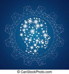 roue, vitesse principale, ciel, poly, lumières, bas, humain, réseaux