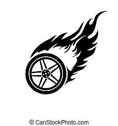 roue, voiture, blanc, noir, brûlé