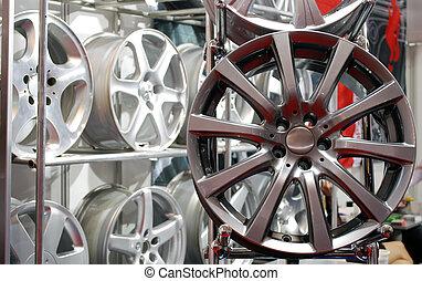 roue, voiture, bord, aluminium