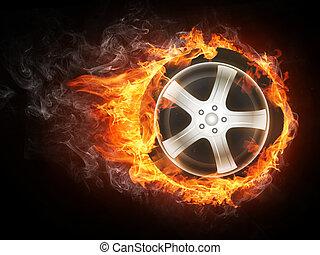 roue voiture, dans, flamme