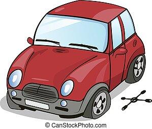 roue, voiture, dessin animé, cassé
