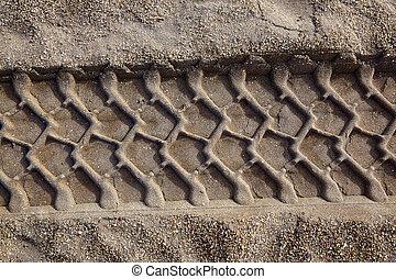 roue, voiture, empreinte, sable, impression, tilres, plage