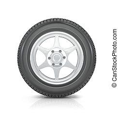 roue, voiture, fond blanc