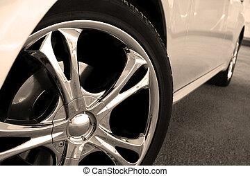 roue, voiture, haut, taches, fin