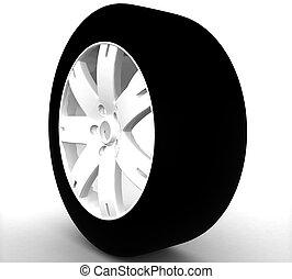 roue, voiture, isolé, fond, blanc, 3d