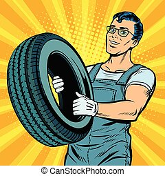 roue, voiture, mâle, mécanicien