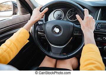 roue, voiture, tenue, conduite, mains