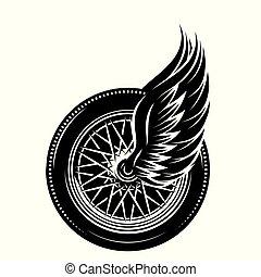 roue, voiture, -, vecteur, modèle, monochrome, ailes
