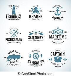 roue, wale, ensemble, ancres, vendange, étiquettes, mouettes, typographie, nautique, retro, signes, direction, nœuds