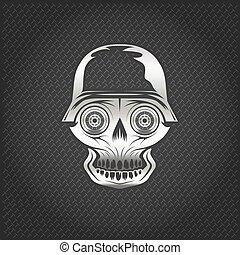 roue, yeux, crâne, métal, fond, argent