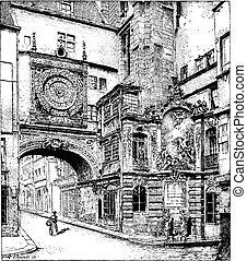 Rouen, the big clock, Normandy, France, vintage engraving.