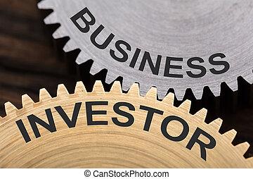 roues dentées, concept, investisseur, business, enclenché