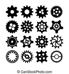 roues dentées, différent, blanc, noir, silhouettes
