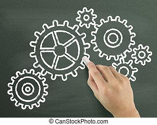 roues dentées, main, dessiné, symbole