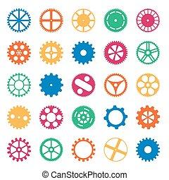 roues, engrenage, coloré