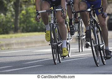roues, pendant, a, cyclisme, course