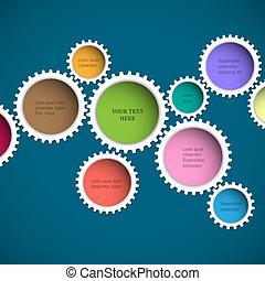 roues, résumé, coloré, engrenage