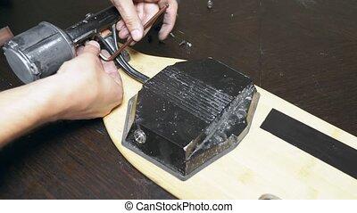 roues, repair., serrurerie, patin, close-up., skateboard., ...