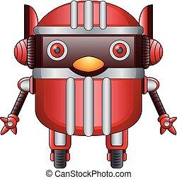 roues, robot, rouges, dessin animé