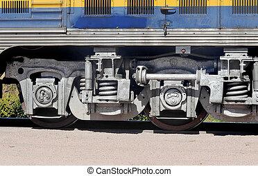 roues, train, gros plan