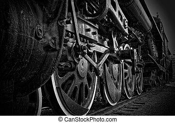 roues, train, gros plan, vapeur