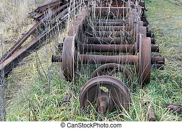 roues, train, vieux
