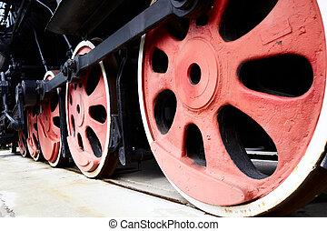 roues,  train, vieux, vapeur