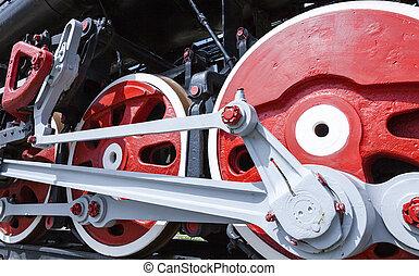 roues, vieux, train