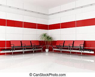 rouge blanc, salle d'attente