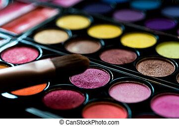 rouge, cosmetics., professioneel, beschouwt-schaduw, powder.