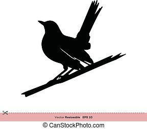 rouge-gorge, gabarit, -, conception, vecteur, silhouette, logo, illustration, oiseau
