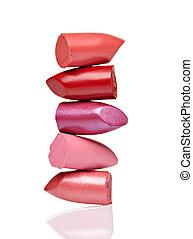 rouge lèvres, pile, beauté, haut, faire