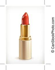 rouge lèvres, rouges, icône