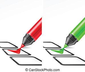 rouge vert, chèque, marqueurs, marque