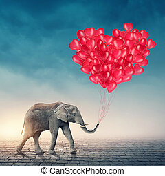 rouges, éléphant, ballons